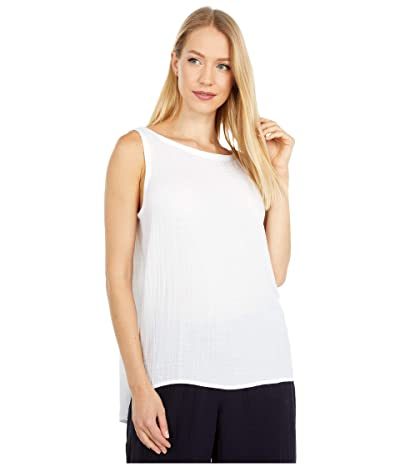 Eileen Fisher Bateau Neck Swing Shell (White) Women