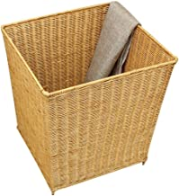 Storage Basket Laundry Basket Medium Rectangular Laundry Linen Willow Wicker Basket with Lining-Yellow (Color : Yellow, Si...