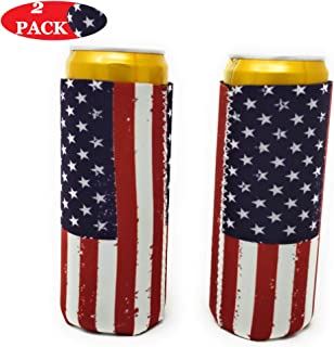 2 Pcs Slim Can Cooler Koozies- American Flag Neoprene Coozies For 12 Oz Tall Slim Cans, Skinny Can Cooler Sleeve, Suitable For All 12 Oz Metal Slim Cans Like White Claw, Red Bull, Michelob Ultra