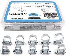 Queta 80 Pcs Collier de Serrage en Acier Inoxydable R/églable pour Tuyau Pince Clip Fixation Cerceau du Larynx Tuyau Serre-Joints avec Une Bo/îte