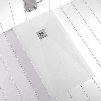texture ardoise Shower Online Receveur de douche en r/ésine PLES anthracite RAL 7011 avec grille couleur et siphon antid/érapant toutes les tailles disponibles 90 x 130