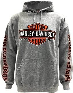 HARLEY-DAVIDSON Men's Bar & Shield Logo Pullover Hooded Sweatshirt, Gray