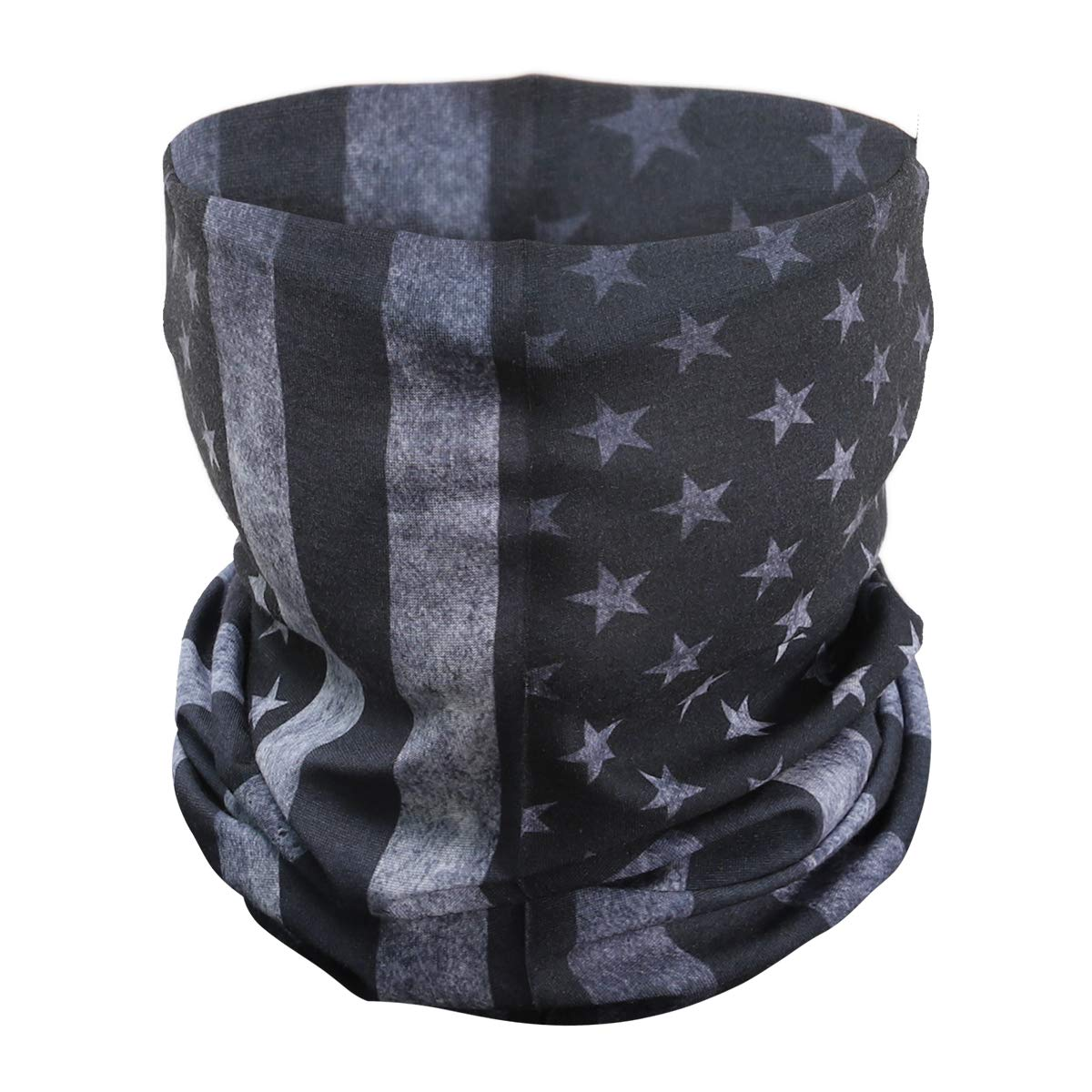 PAMASE American Flag Outdoor Face Mask- Multifunctional Seamless Microfiber American Flag UV Protection Face Neck Shields Headwear for Men&Women Motorcycle Hiking Cycling Ski Snowboard(Grey)