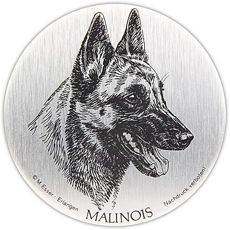 Schecker Selbstklebende Silberfarbene Metallplaketten Malinois Wetterfest Autoaufkleber Türschild Esser Haustier