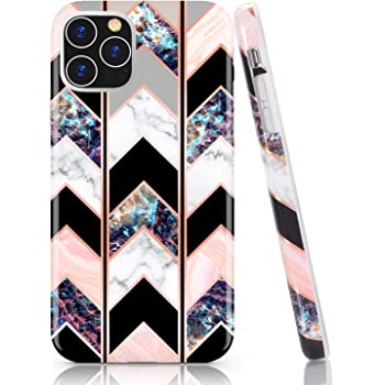 Amazon Com Baisrke Iphone 11 Pro Max Case Shiny Rose Gold Wave Geometric Marble Case Slim Soft Tpu Rubber Bumper Silicone Protective Phone Case Cover For Iphone 11 Pro Max 6 5 Inch 2019 Black Electronics