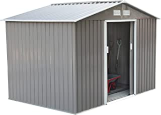 Outsunny 9' x 6' Metal Outdoor Backyard Utility Storage Tool Shed - Grey/White