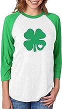 Irish Green Clover Heart St. Patricks Day 3/4 Women Sleeve Baseball Jersey Shirt