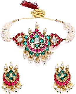 Zaveri Pearls Pink & Green Meenakari Multistrand Pearls Choker Necklace & Earring Set For Women-ZPFK10242