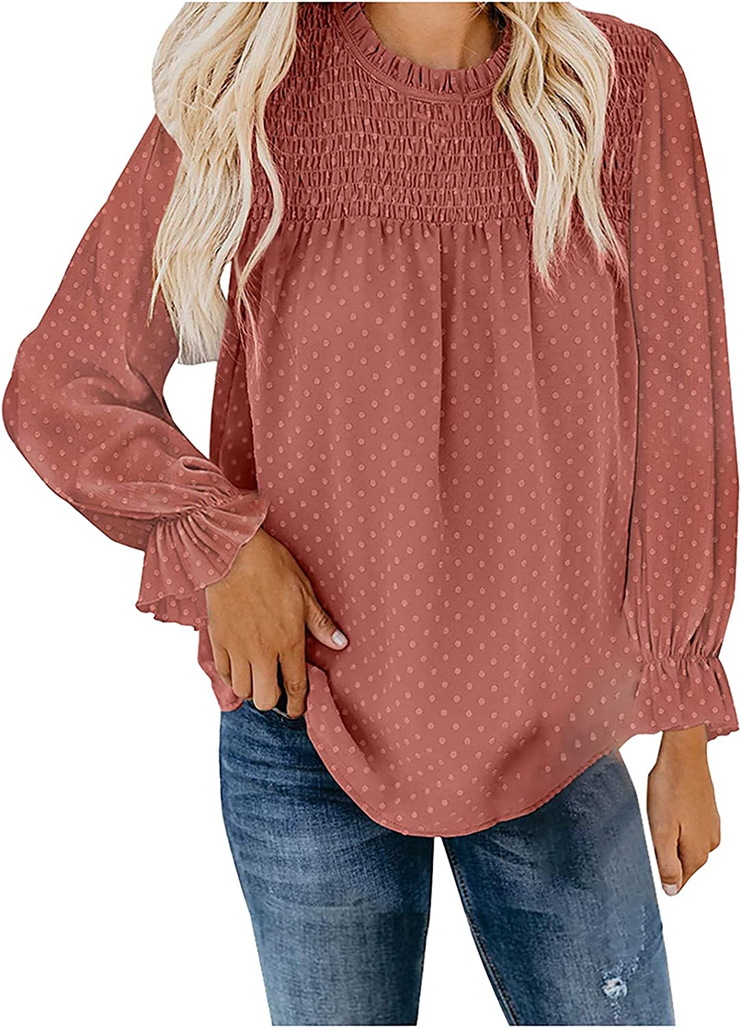 Women's Chiffon Casual Max 54% OFF Blouse Crew Sleeve A surprise price is realized Lantern Shir Neck Long
