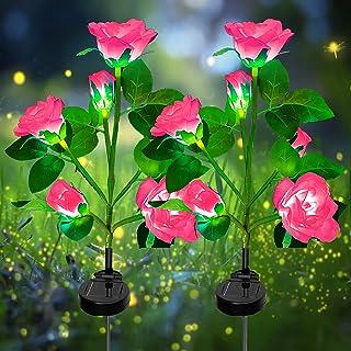 Solcellslampa trädgård utomhus – 2-pack LED solar garden stake lampor med 10 rosenblommor, solar sätt belysning dekoration...