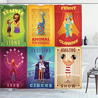 Ambesonne Circus Shower Curtain, Circus Characters with Trained Animals Strong Man Trapeze Artist Retro Show Design, Cloth Fabric Bathroom Decor Set with Hooks, 75
