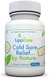 LippEase Fast Acting, Natural Supplement to Treat and Prevent Cold Sores, Herpes and Fever Blisters | Vitamins C, B-12, Zinc, L-Lysine and Echinacea | Immune System Support – 30 Count Bottle