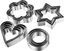 FomaTrade Cookie Cutter Mold Vegetable Fruit Cutter Shapes Set Stainless Steel(20pcs) 5 Stars Shape 5 Flowers Shape 5 Round Shape 5 Hearts Shape (Silver)