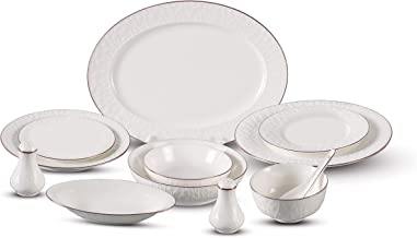 Alesayi Porcelain,White With Rose Color - Dinnerware Sets 72 pcs