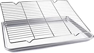 Half Sheet Baking Pan with Cooling Rack for Cookies, Vegetables, and Cakes, Commercial Quality Aluminum Cookie Pan Tray with Stainless Steel Wire and Roasting Rack, 18x13x1 Inch
