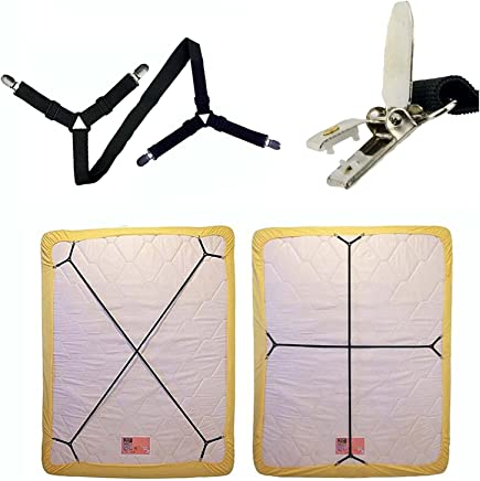 IGIYI Sheet Fasteners,  2 Pcs Bed Fitted Sheet Fasteners,  Adjustable Crisscross Bed Sheet Straps Suspenders Gripper Holder Straps Clip for Bed Sheets/Mattress Covers (2 Pack Long)