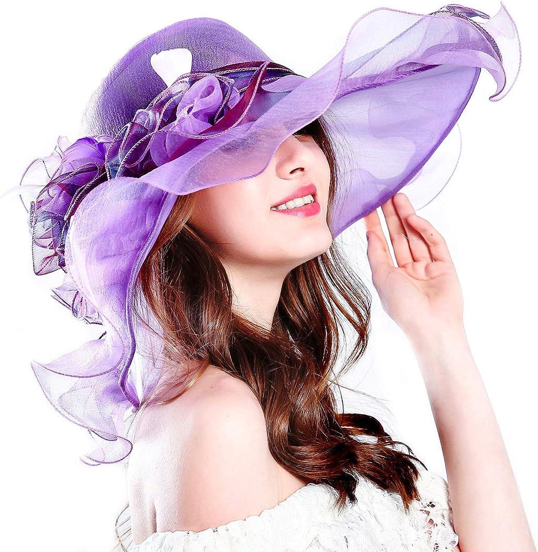Genuva Women's Organza UVAnti Church Derby Hat Fascinator Tea Party Wedding Hat Ruffles Wide Brim Bridal Cap