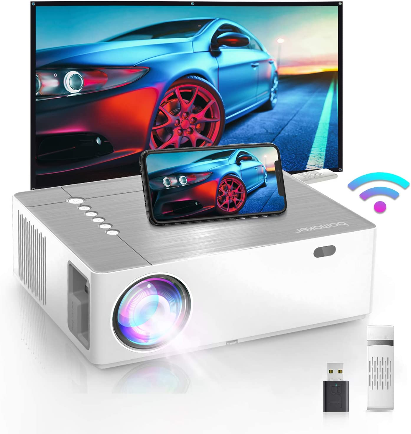50% Zoom Out Bomaker 6500 Lux Native 1080P Projektor iOS HDMI… 300 ...