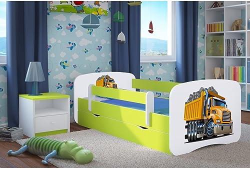 compras de moda online CARELLIA Cama Infantil Infantil Infantil 'camión' 70x 140cm con Barriere Hauszapatos de + somier + cajones Incluye colchón. Color verde Lima  salida de fábrica
