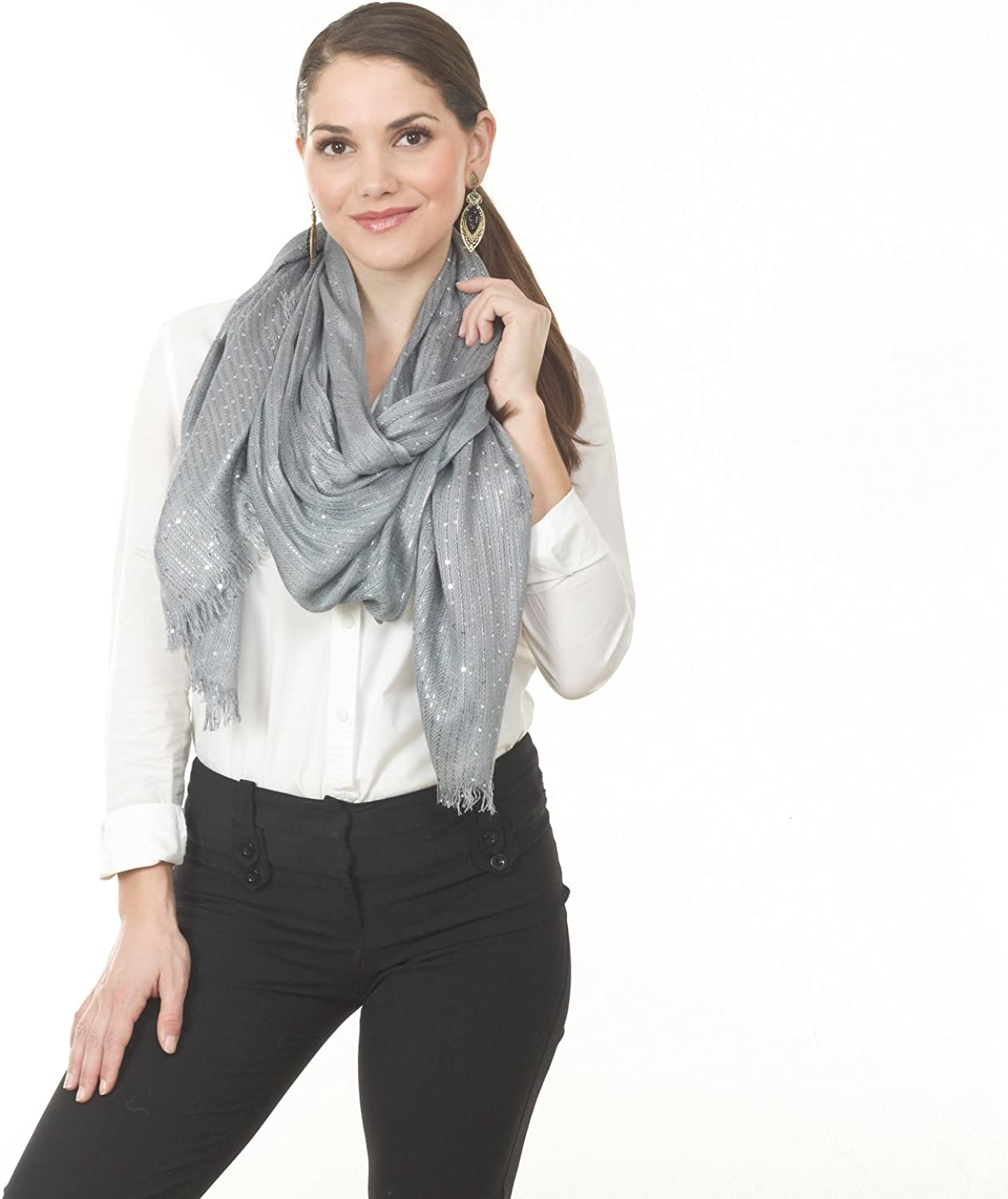 Taleen by Carino Fashions Grey Sequined Scarf  22 x70 , 100% viscose