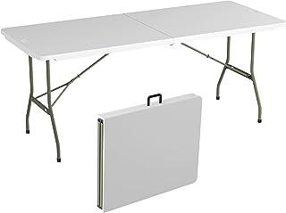Lavish Home Folding Utility Table-6 Foot Plastic Tabletop, White