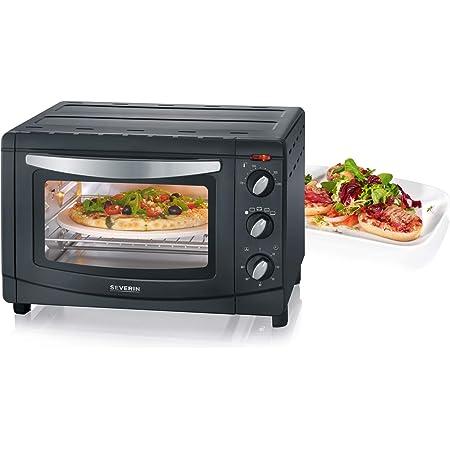 SEVERIN TO 2061 Horno Tostador con Convección incluye Piedra para pizza, 1.500 W, 20 L, color plateado y negro