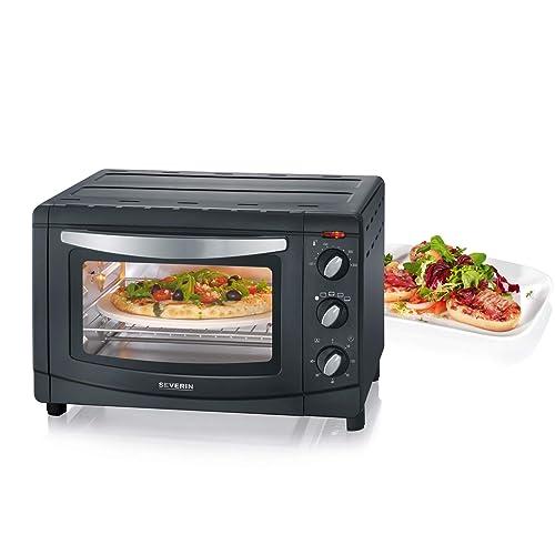 SEVERIN Mini-Four avec Chaleur Tournante, Pierre à Pizzas Incluse, 1 500 W, 20 L, TO 2061, Argent/Noir