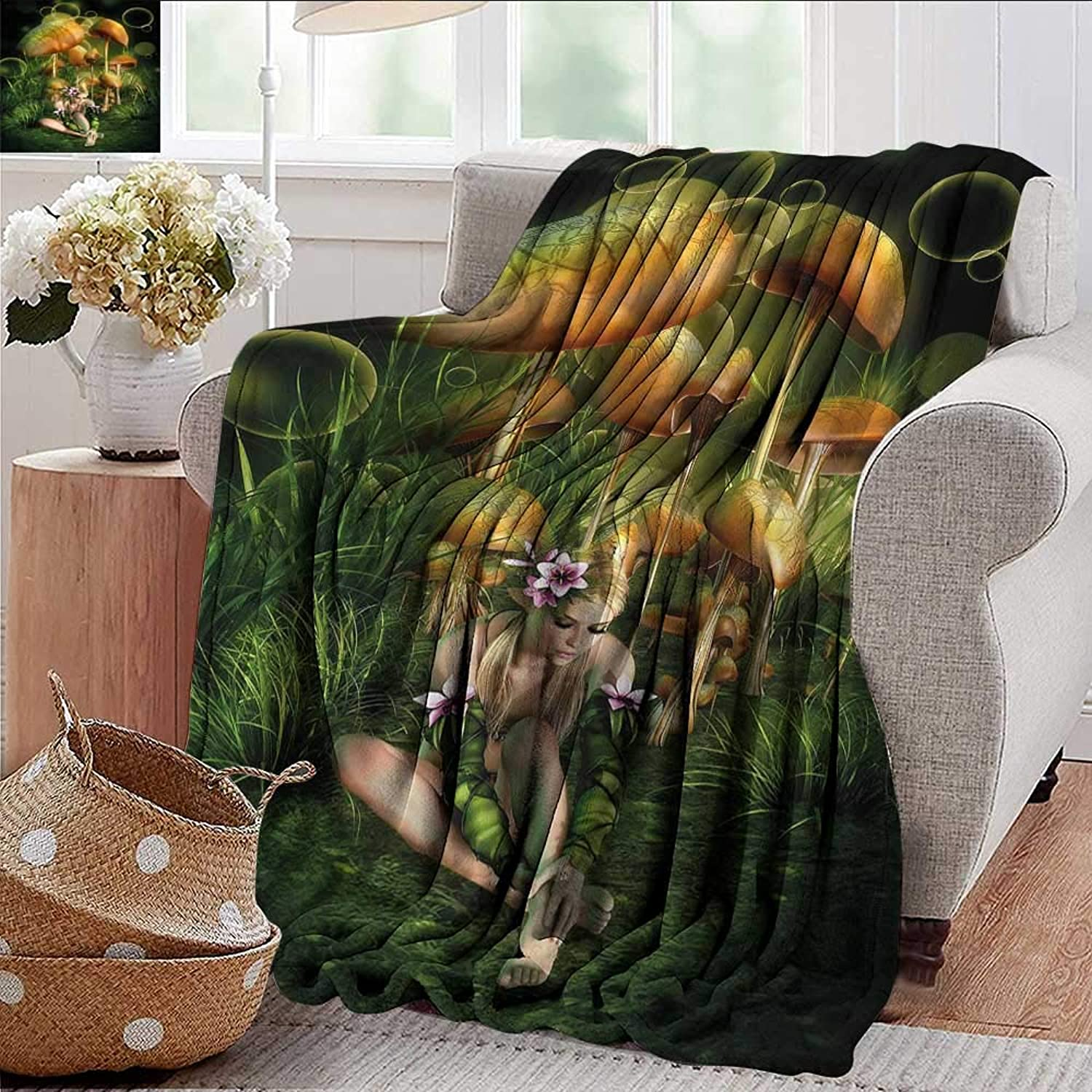 Xaviera Doherty Weighted Blanket for Kids Mushroom,Elf Woman Enchanted Forest Soft Summer Cooling Lightweight Bed Blanket 50 x60