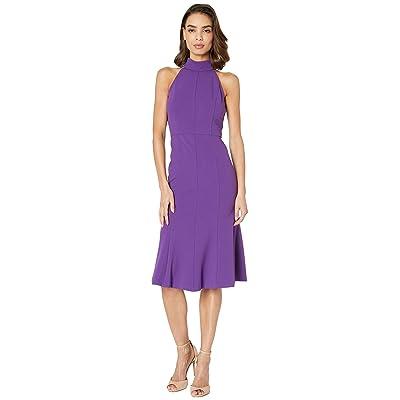 Donna Morgan Crepe Mock Neck Halter Midi Dress (Bright Purple) Women