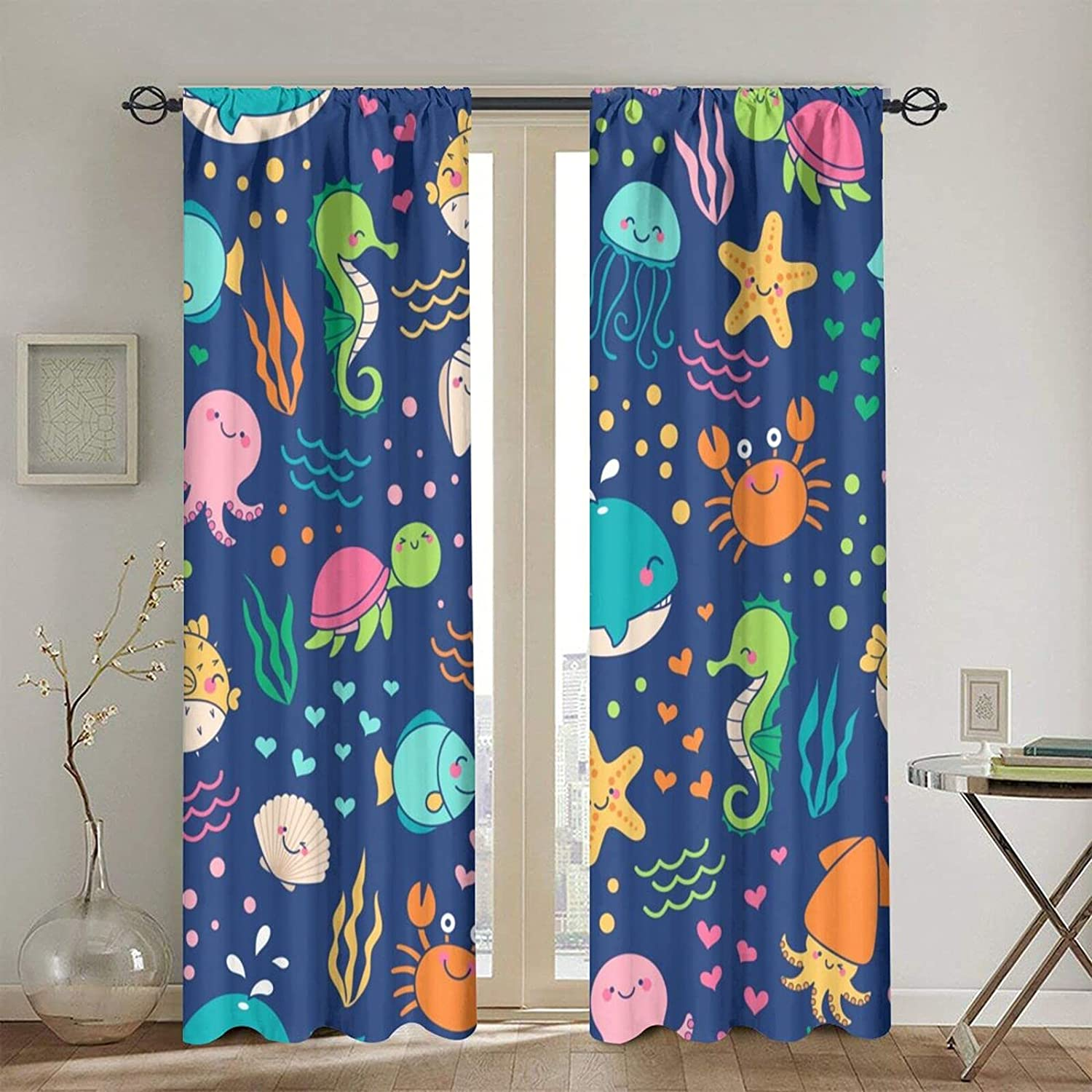 Blackout Curtains for Girls Boys sold out Life Sea Sacramento Mall Cute Colorful Cartoon