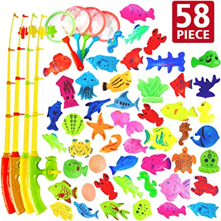 AUUGUU 58 Pcs Magnetic Fishing Toys Game - 4 Poles, Nets & 50 Floating Fishes for Kids Bathtub Water Table Pool Party Floor, Best Gift for Toddler Age 3 4 5 6 Year Old, Kids Bath Toys