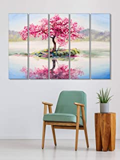 999Store paintings for home decor wall frame for bedroom Pink leaves tree wall art panels hanging painting Set of 5 frames...