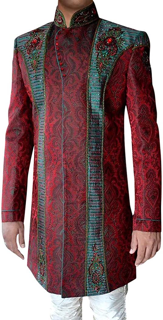 INMONARCH Mens Kurta for Jeans Red Indo Western Sherwani Exclusive Indian Wedding IN080521
