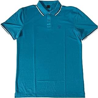 by Peter Millar Men's Acqua Blue Performance Pique Tipped Polo Shirt