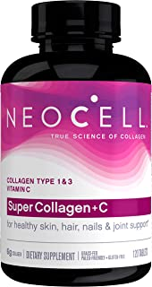 NeoCell Super Collagen with Vitamin C, 120 Collagen Pills, #1 Collagen Tablet Brand, Non-GMO, Grass Fed, Gluten Free, Coll...