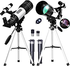 FREE SOLDIER Telescope for Kids Astronomy Beginners - 70mm Aperture High Magnification Astronomical Refractor Telescope with Phone Adapter Wireless Remote Portable Telescope for Kids,White