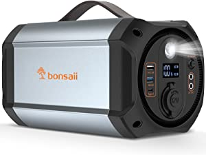 Portable Power Station 300W, 278Wh Solar Generators for Emergency Home and Outdoor Use, Portable Battery Power Supply with 110V AC Outlet & Lamp Lanterns for Camping and Adventure Charge (Bonsaii)