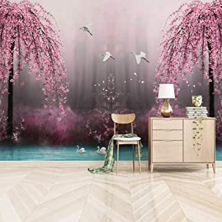 Zbybbby Waterproof Silk Cloth Wallpaper Custom Mural Wallpaper 3D Pink Cherry Blossom Swan Lake Scenery Photo Wall Papers Living Room TV Sofa Bedroom Background Wall-400cmx280cm