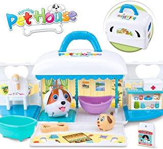 GILOBABY Puppy Dog Play Set Toys, Dog House Carrying Case Pretend Play Toys with 2 Dogs, Fodder, Feed Pot, Cradle, Bathtub, Table, Hair Dryer, Desk, Medical Box, Pet Mat and Stickers for Kids Age 3+