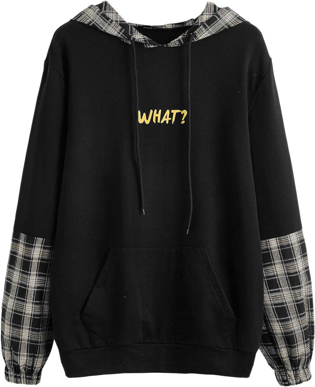 SweatyRocks Women's Graphic Print Sweatshirt Color Block Long Sleeve Drawstring Hoodies