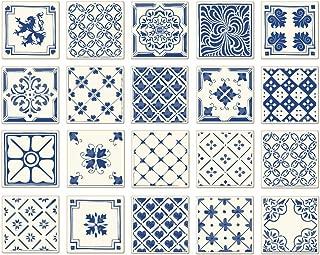 Poromoro Spanish Portuguese Azulejo Style Peel and Stick Tile Stickers Set of 20 pcs (5.9x5.9, D)