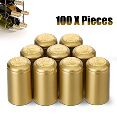 Janolia Heat Shrink Capsules, 100Pcs Wine Shrink Caps Bottle Seals, Easily Seal and Tear Off with Tearing Tab, Great Gift for Father,Golden