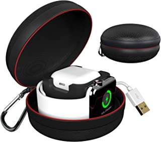 Apple Watch/Airpods Protective Case,Megon Apple Watch Charging Holder Dock and Portable Travel Case for Watch Series 5 4 3 2 1 Apple AirPods,Waterproof iWatch Storage Box for Apple iWatch Accessories