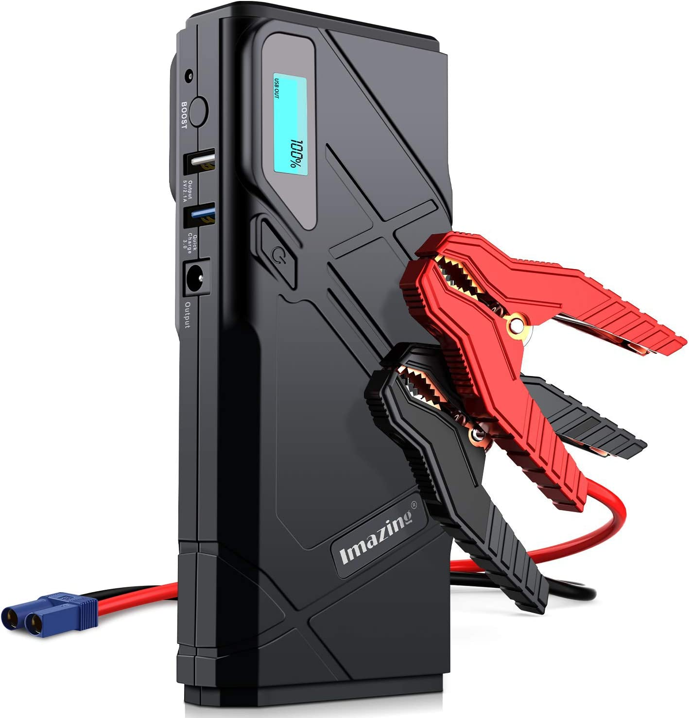 12V Auto Battery Booster Portable Power Pack with Smart Jumper Cables 1500A Peak IM23 Imazing Portable Car Jump Starter Up to 8L Gas or 6L Diesel Engine