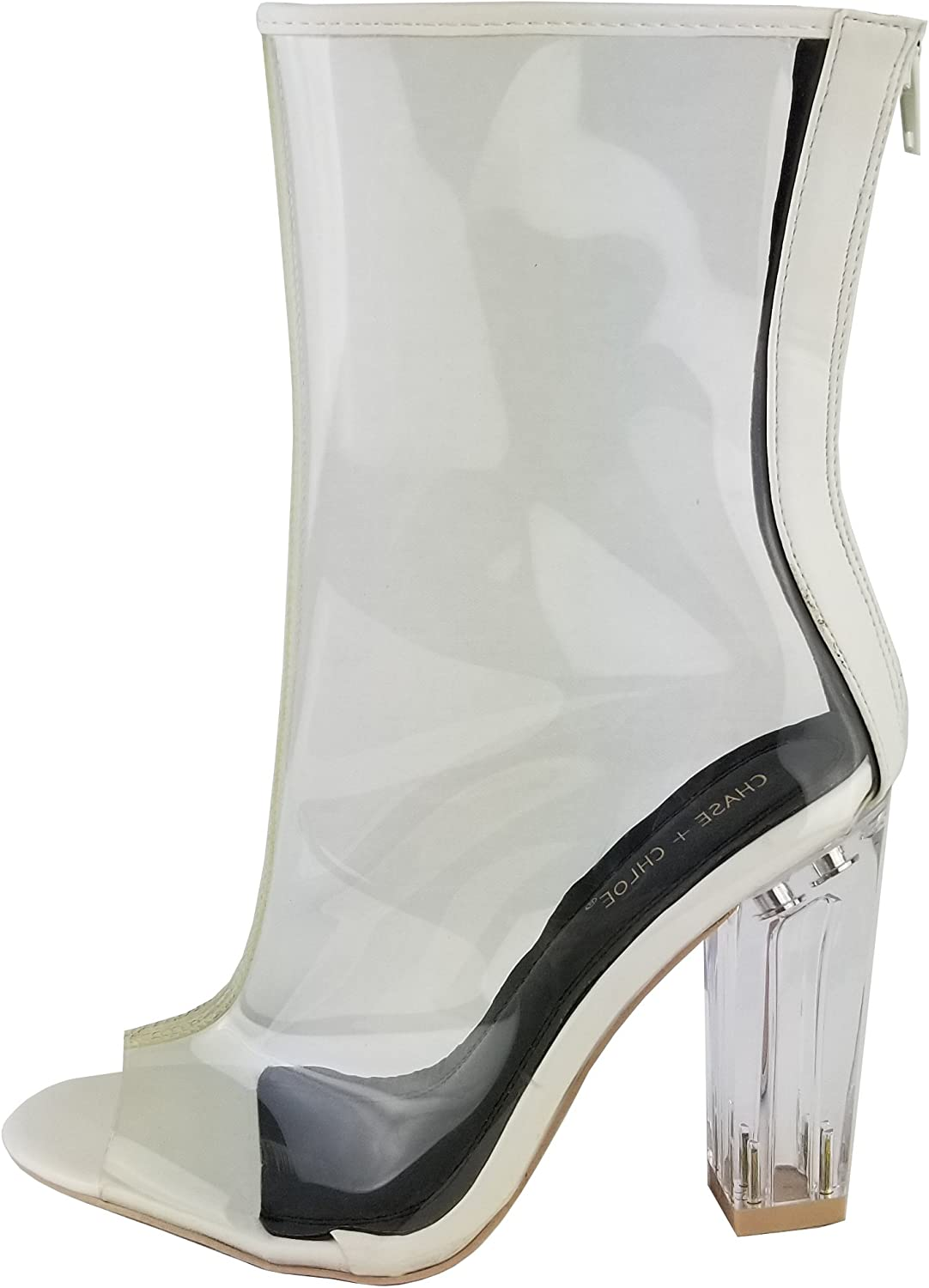 Chase & Chloe Women's Clear Lucite Perspex Back Zipper Block Heel Ankle Bootie