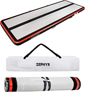 AirTrack Shop Zephyr 4 Inflatable Gymnastics Mat with Air Pump | Compact Home Gym Exercise Equipment | 3ft x 10ft x 4 Inch Thick Tumbling Air Mat