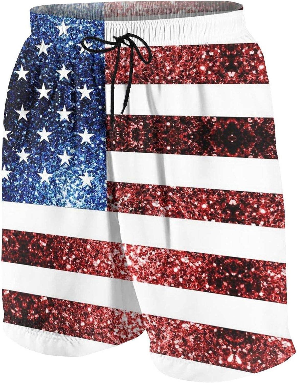 FuYin Boys Teens Swim Trunks USA Flag red Blue Sparkles Glitters Quick Dry Beach Board Swim Shorts 7-18T