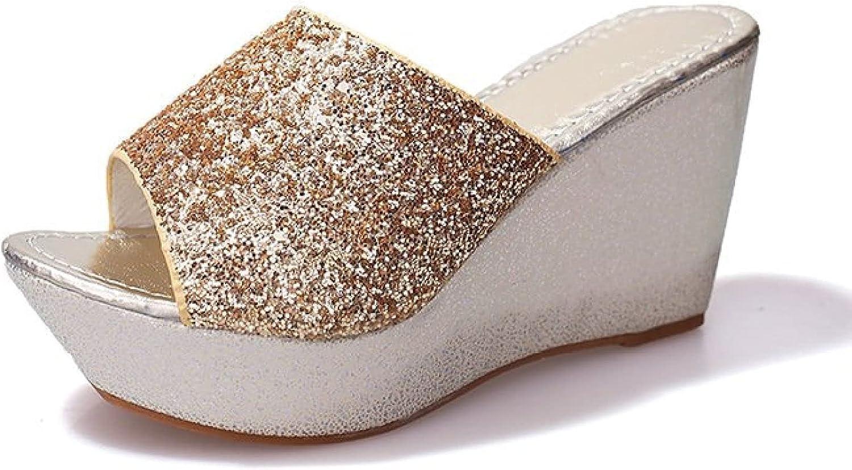 Women Sequin Casual Wedge Mules Slide Sandals Sexy Fashion Open Toe High Heels Slip on Platform Slides