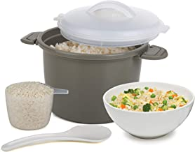 Progressive International PS-96GY Set Microwave Rice Cooker, 4 Piece, Gray