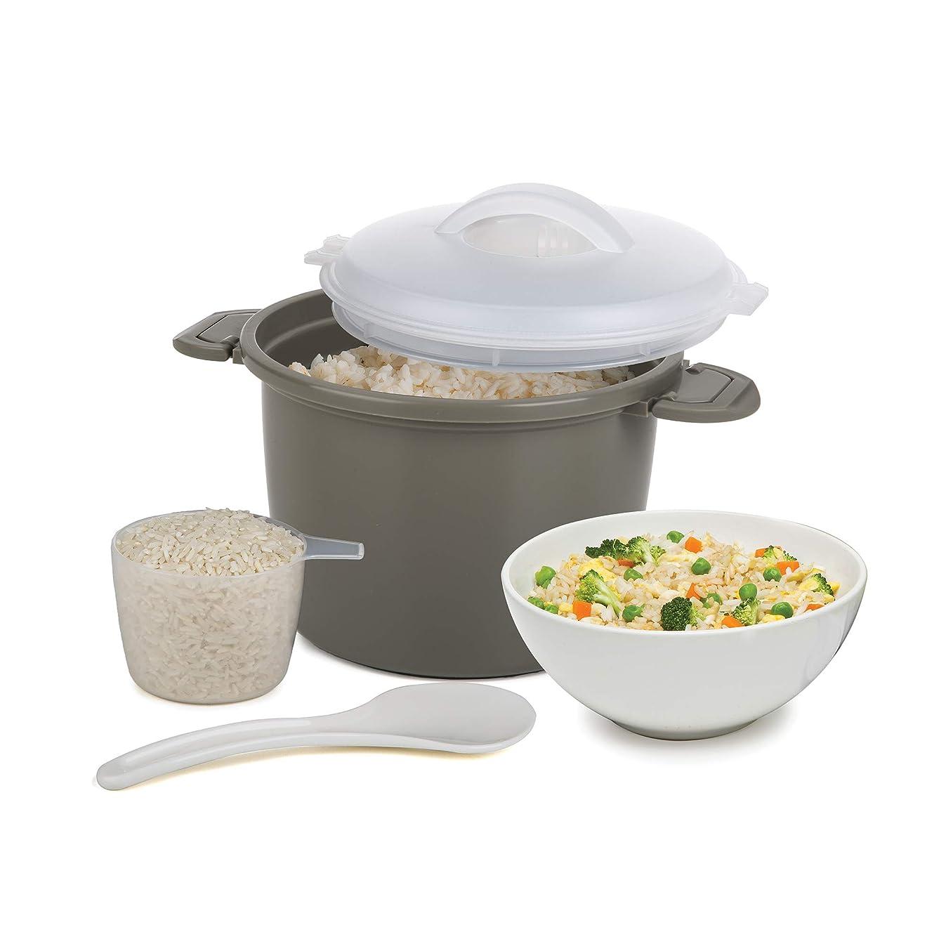 Progressive International PS-96GY Set Microwave Rice Cooker, 4 Piece, Gray
